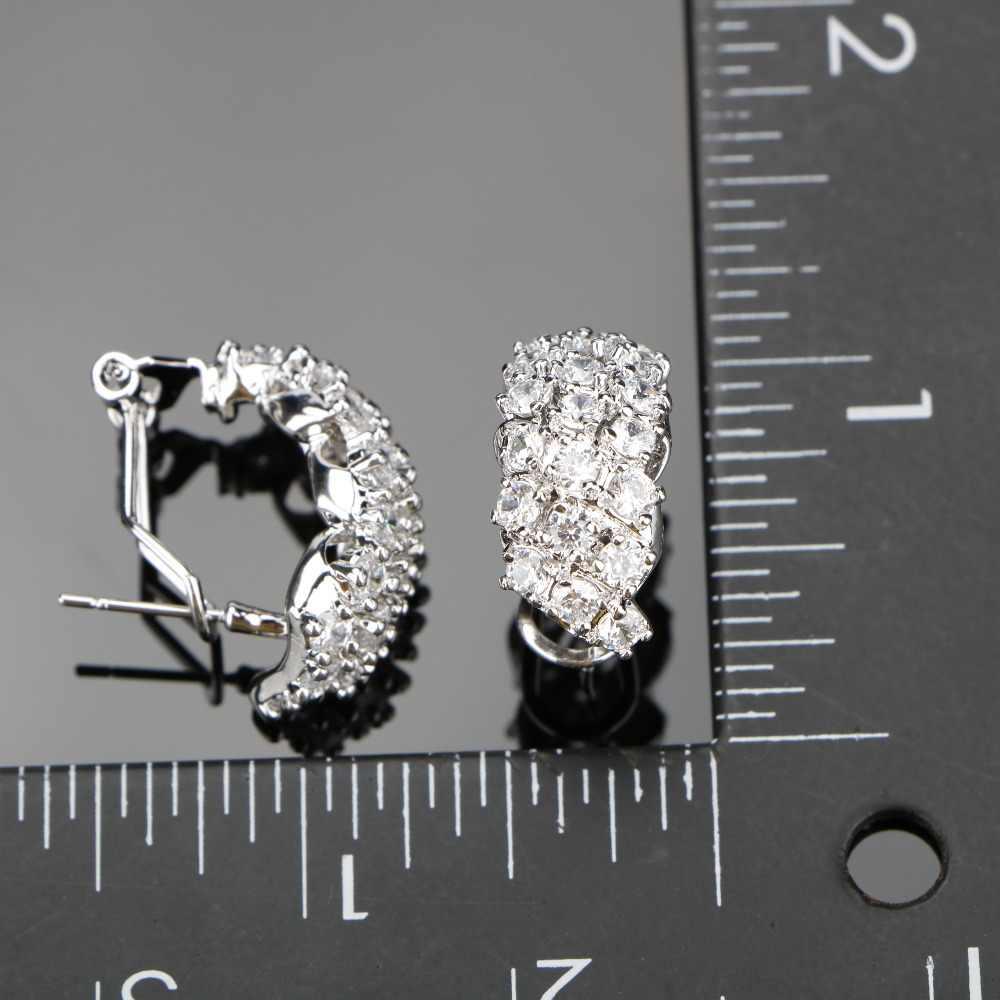 לבן זירקון כסף 925 תלבושות תכשיטי חתונה נשים צמידי קליפ עגילי תליון שרשרת טבעות סט תכשיטי אריזת מתנה