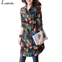 Womens Tops Fashion 2016 Autumn Vintage Loose Floral Print Long Women Blouses Shirts Long Sleeve Shirt