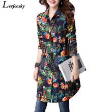 Womens Tops Fashion 2017 Autumn Vintage Loose Floral Print Long Women Blouses Shirts Long Sleeve Shirt