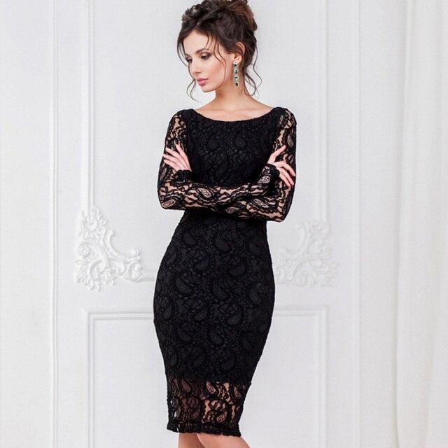 Большие размеры 2017 Для женщин Осень Черный Белый Кружево офисное платье сексуальное с длинными рукавами и круглым вырезом карандаш вечер Bodycon Элегантный партия платья