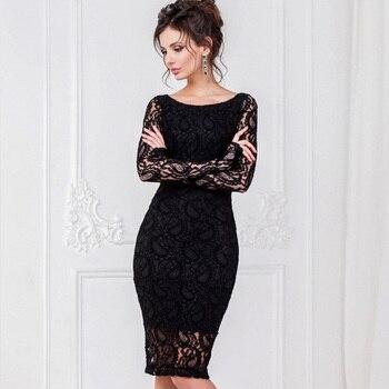 fe418ac49f404 Artı boyutu 2018 Kadın Sonbahar siyah beyaz Dantel ofis Elbise Seksi uzun  Kollu o-boyun kalem Akşam Bodycon zarif Parti Vestidos
