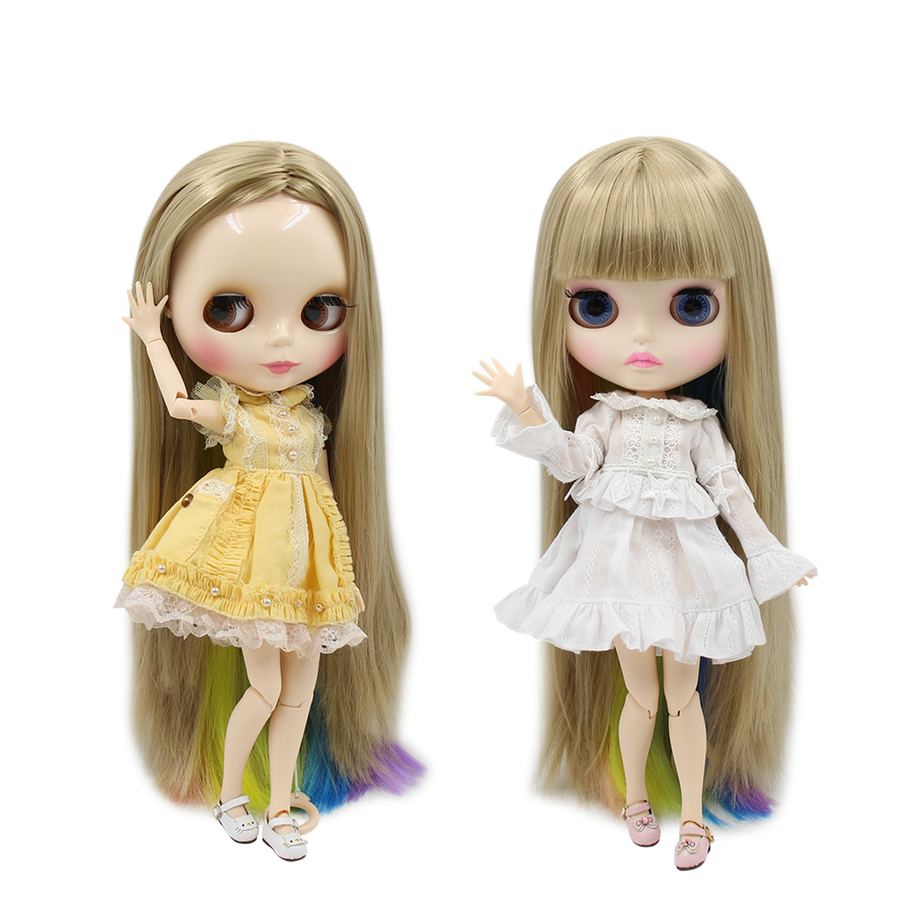 Blyth Doll Nude White Skin New perfect gold with colorful soft straight hair Matte Glossy Face
