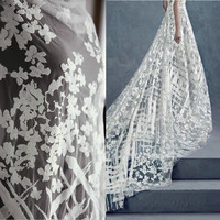 1 Meter High Quality 110cm Width White Vintage Embroidered Lace Fabric With Floral 3D Flower Luxury