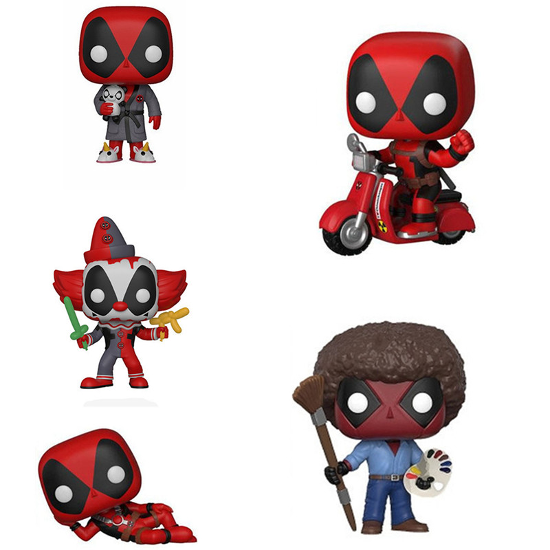 Lensple Movies X-Men Clown Deadpool Lying Motorcycle as Bob Ross Action Figures Painter Super Hero Toys 10cm