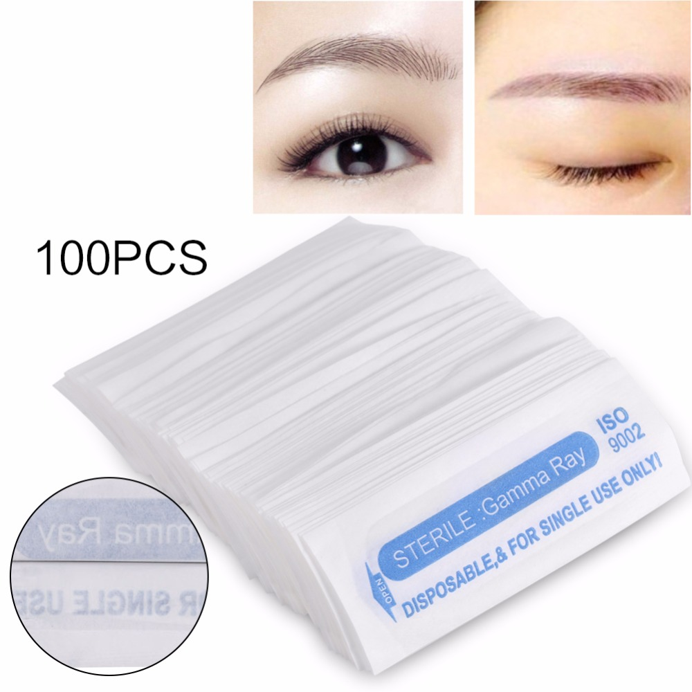 100Pcs Microblading Eyebrow Tattoo Machine Needle Stainless Steel Round Disposable Tattoo Needle Pin Permanent Makeup Supplies