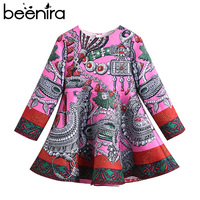 2017 Beenira Brand Children Winter Printed Dresses European And American Style Kids Clothing Dress Design For