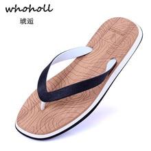 Whoholl 2019 Summer Hot Sale Black Men Flip Flops Beach Slippers Lightweight Shoes Sweet EVA Footwear Drop Shipping 40-44