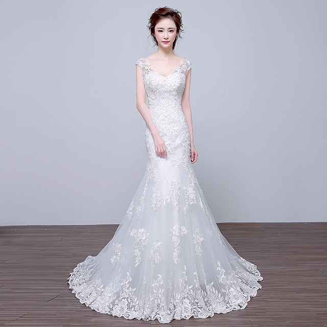 WB514 Womens Wedding Dresses Robe De Mariage Country Western Bridal Dress V-Neck  Sequin Appliques Lace Mermaid Wedding Dress 912c6c343189
