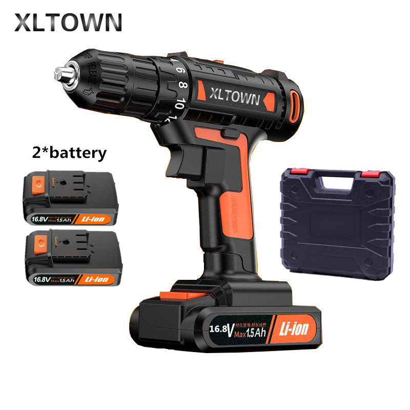 цена на Xltown 16.8v High-end Drill Rechargeable Lithium Battery Electric Screwdriver with 2 battery Large Torque Drill Power Tools