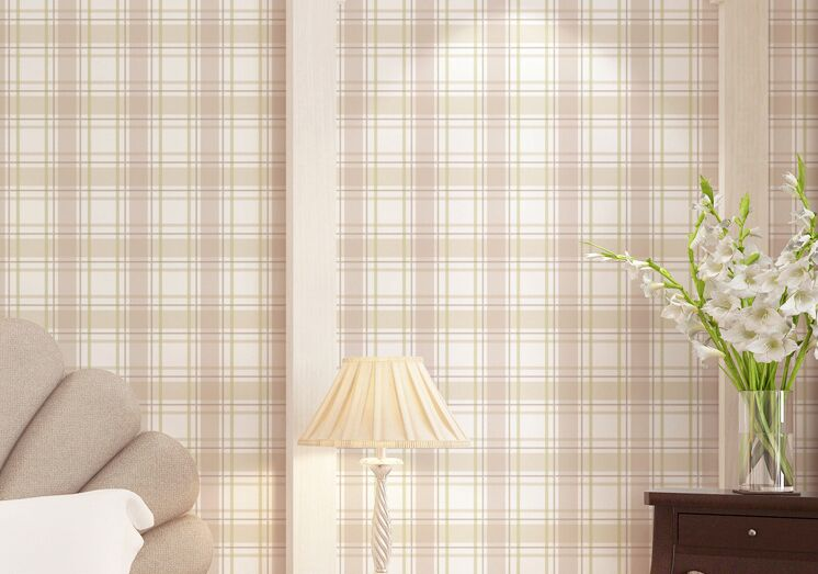 Slaapkamer Country Style : Country style scottish plaid wallpapers vintage pure paper wall