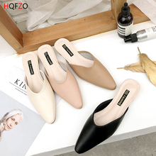 HQFZO 2019 Fashion Mules Pointed Toe Woman Slippers  Soft Slip On Flat Casual Female Shoes Spring Mujer Footwear