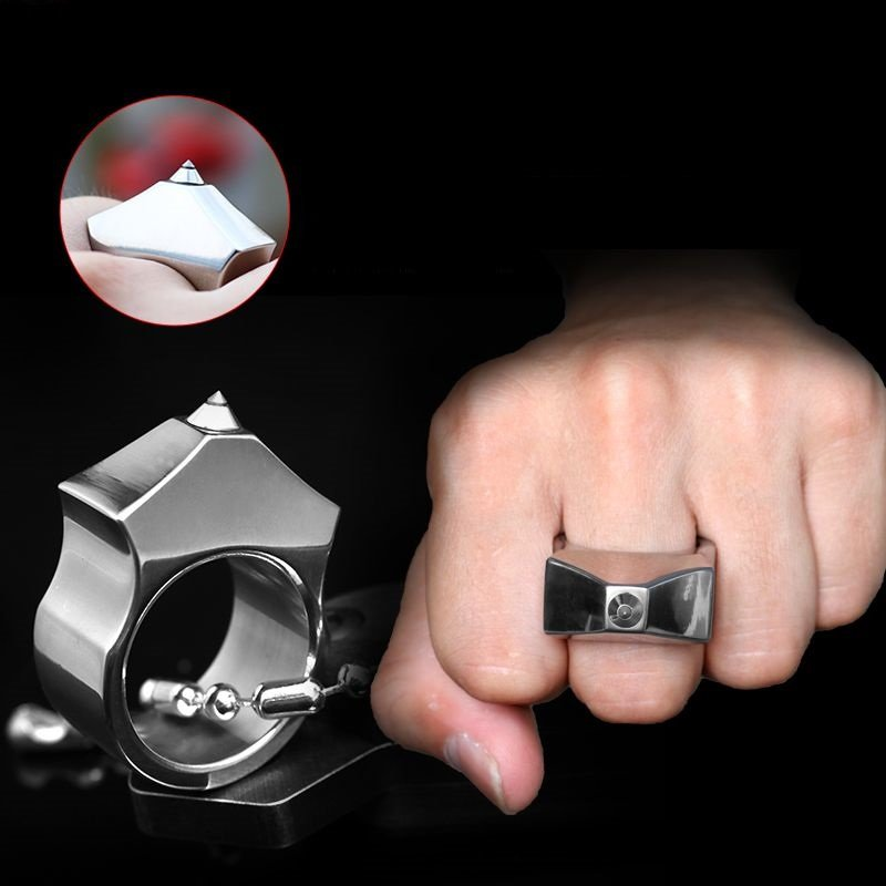 High Quality Tungsten Steel Self Defense Supplies Ring Women Men Safety Survival Finger Ring With Chain Tool