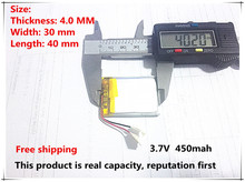 Free shipping 3.7V lithium polymer battery 043040 403040 450mAh MP3 MP4 GPS Bluetooth lithium battery small stereo bluetooth GPS