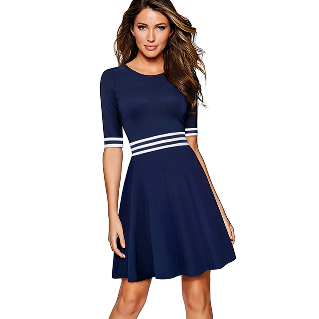 5e3d63c1e5 Women White and Dark Blue Striped Patchwork Half Sleeve Tunic Vintage  Casual Work Party Fit and Flare A-line Skater Dress EA059