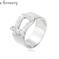 Moonmory Elt Fastener Buckle Shape Ring 100 Real 925 Sterling Silver Ring With Clear Zircon For