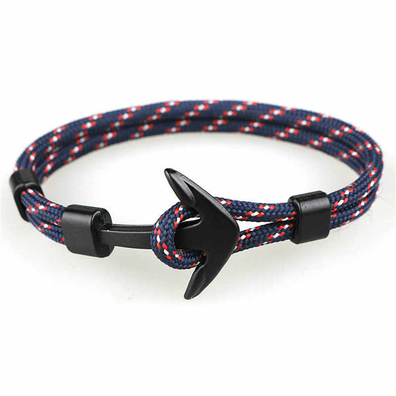 1 Pcs Sell Fashion Black Color Anchor ID Bracelets Men Survival Rope Chain Paracord Bracelet Metal Sport Hooks