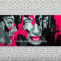 Hand painted Francoise Nielly Palette knife portrait Face Oil painting Character figure canva wall Art picture for living room 6