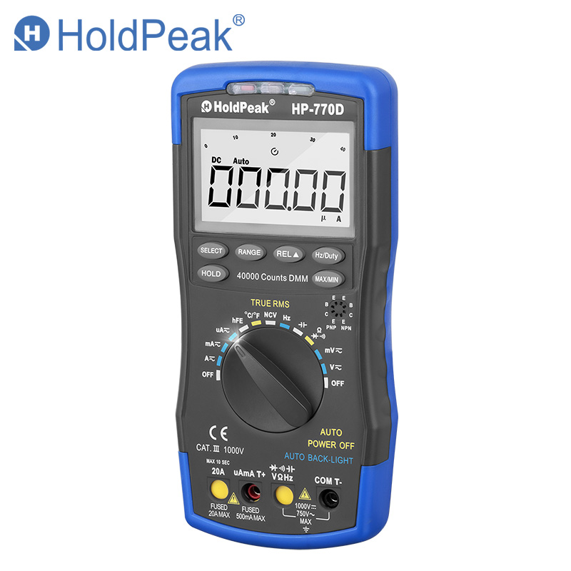 HoldPeak digitale multimeter HP-770D High-Accuracy Auto Range True RMS 40000 Counts NCV AC DC Voltage Current Ohm Tester