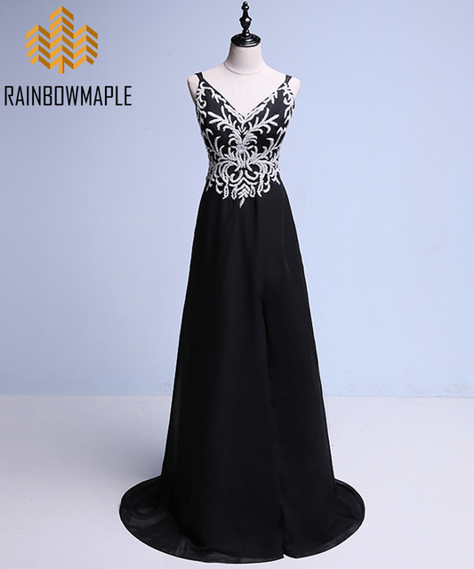 9836b0dbd2 Gorgeous Beaded Embroidery Long Prom Dresses For Women Sexy V-Neck Backless Chiffon  Prom Gowns Formal Evening Dress Pageant