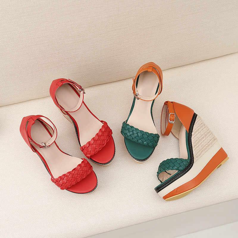 Asumer mode zomer sandalen hoge hakken schoenen platform wiggen schoenen vrouwen gesp sandalen klassieke prom schoenen vrouwen sandalen 2020