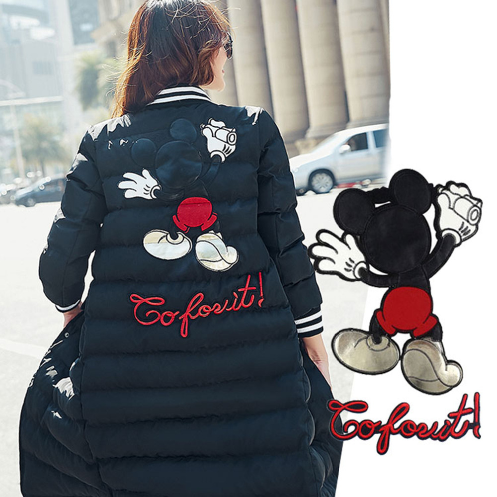Sew On Clothing Patches Fashion Embroidery Sequins Cartoon Mickey Badges Apparel Garment Bags T-shirt DIY