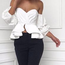 Лето 2017 г. Лидер продаж с открытыми плечами Блузки для малышек Для женщин пикантные летние завернутый блузка Sexy бретелек оборками плиссированные Блузки для малышек Для женщин
