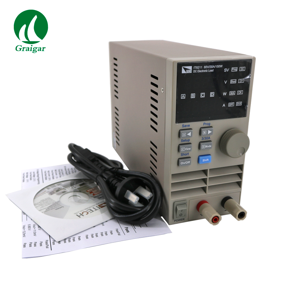 Digital Control DC Electronic Loads IT8211 Resolution 1mV/1mA Ensures the Accurate Measurement Result.CV/CP/CC/CR Mode