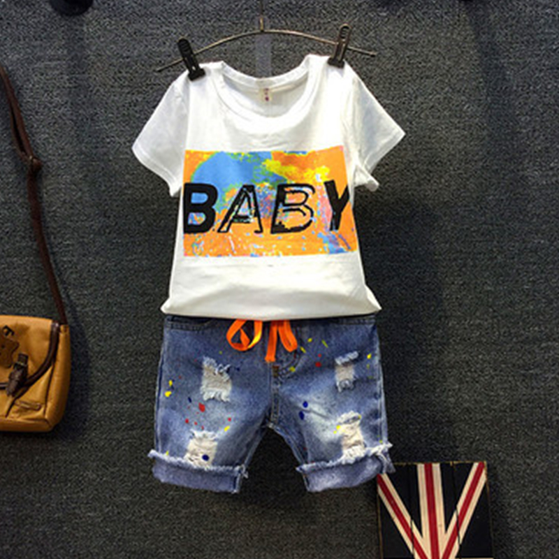 boy Children's clothing sets 2017 Summer new baby boys clothes short-sleeved T-shirt+Denim shorts fashion Kids sports suit 017 summer baby boys clothing set kids clothes toddler boy short sleeved t shirts shorts girls clothing sets for kid