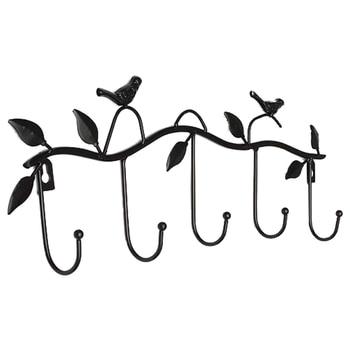 Iron Birds Leaves Hat/Towel/Coat Wall Decor Clothes Hangers Racks With 5 Hooks Hangers & Racks