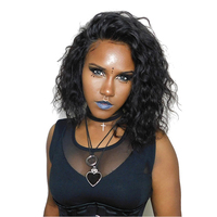 Gluless парики для Для женщин волнистые короткий Боб человеческих волос парики для Для женщин натуральный черный 180% бразильский парик Remy