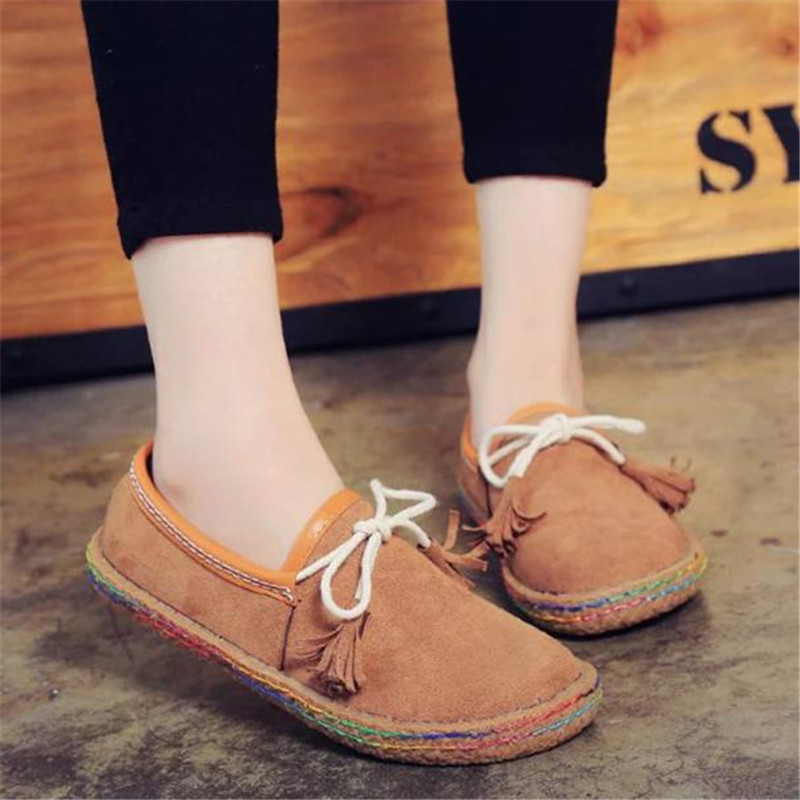 2016 New Fashion Ladies Matte Leather Tendon At The End Peas font b Shoes b font