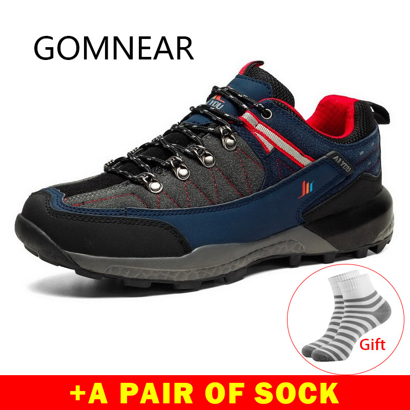 GOMNEAR Outdoor Hiking Sneakers Breathable Hiking Shoes Men Sport Shoes Mountain Climbing Shoes Hiking Boots Trekking
