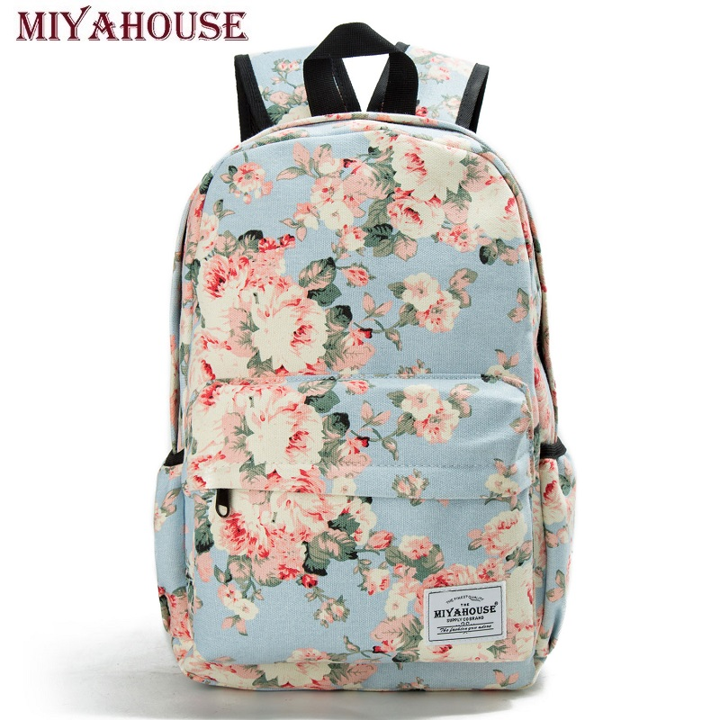Miyahouse Women Canvas Backpacks For Teenage Girls Travel Rucksack Fashion School Bags For Girls Floral Printing Backpack Women 3 pcs set fashion canvas printing backpack women school bags for teenage girls cute book bag travel satchel rucksack
