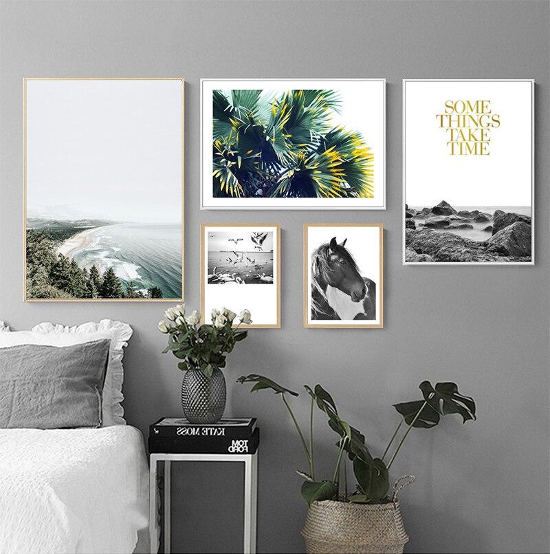 US $2.54 57% di SCONTO|Moderno stile Fresco Poster Art quadri Su Tela  Pittura Piuttosto Scenario Albero Foglie Cavallo Galleria di Stampa Moderna  ...