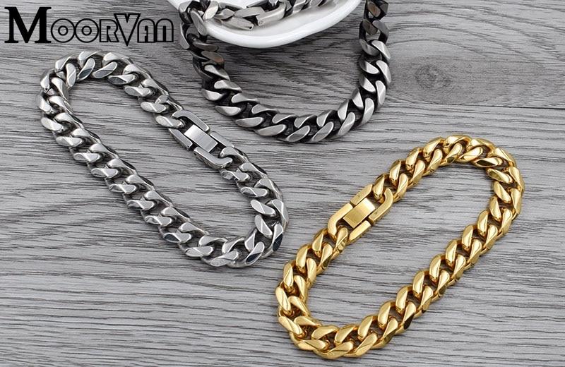 Moorvan Jewelry Men Bracelet Cuban links & chains Stainless Steel Bracelet for Bangle Male Accessory Wholesale B284 41