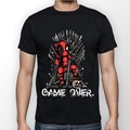 Deadpool Vs Game of Thrones Game Over Men's Black T shirt 2017 New Summer Style camiseta Brand Clothing Adult Tops Euro Size Tee