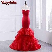 Yinyyinhs Sexy Mermaid Evening Dress 2018 Vestido Longo De Festa Organza Ruffles Prom Dresses Dài Evening Gowns CG43