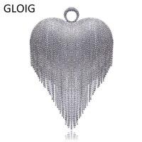 GLOIG Heart Design Tassel Rhinestones Women Clutches Crystal Finger Ring Chain Shoulder Handbags For Party Wedding Bridal Purse