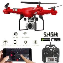 SH5H Quadcopter مع كاميرا 1080 P WIFI الوقت الحقيقي الفيديو الارتفاع الانتظار مقطوعة الرأس واحد مفتاح العودة FPV سباق RC طائرات بدون ط