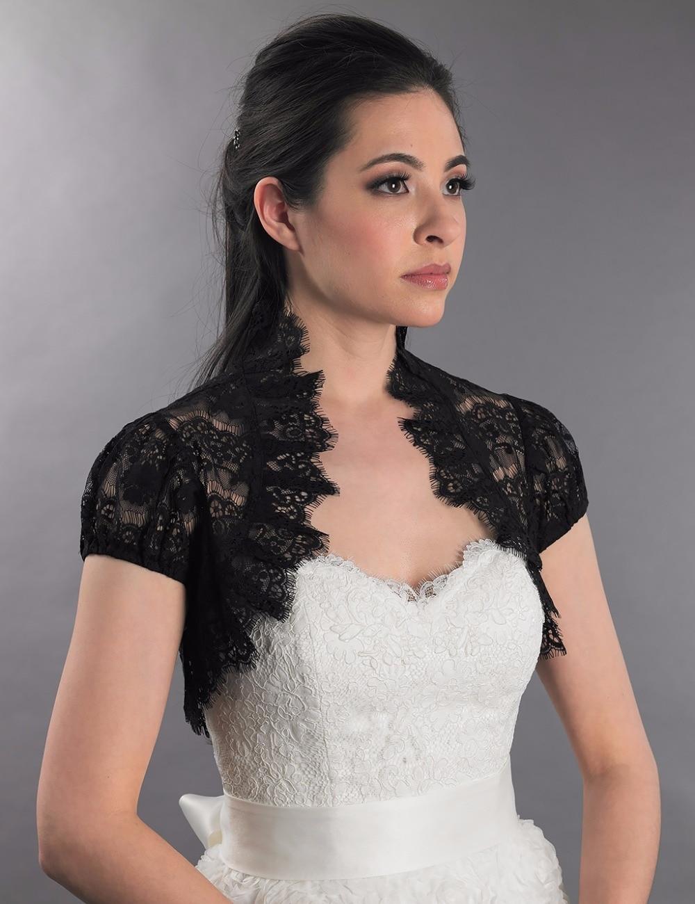 Online get cheap black beaded bolero for Black lace jacket for wedding dress