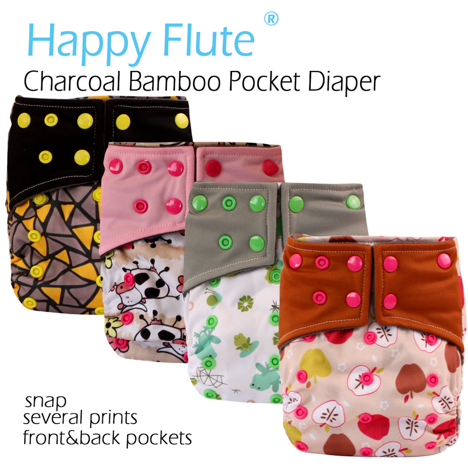 (10pcs/lot) Happy Flute charcoal bamboo pocket cloth diaper/nappy,double leaking guards, fits 3-15kg baby,without insert!