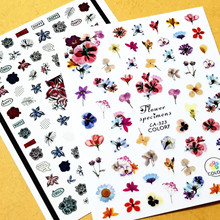 Newest CA-323 flowers series pattern nail stickers 3d back adhesive nail decal Japan style DIY nail decoration wraps недорого