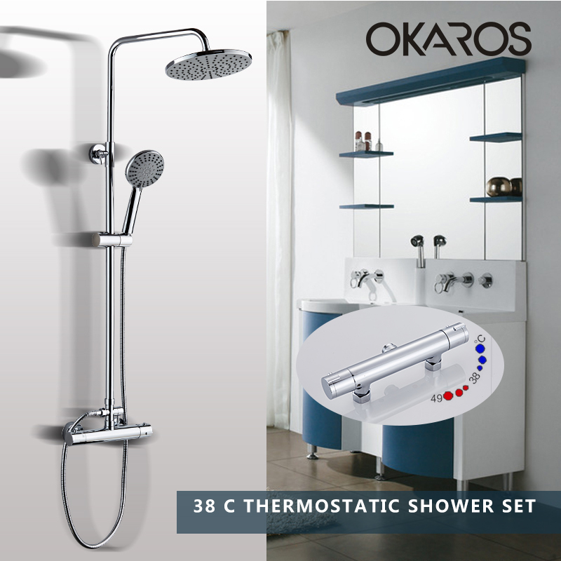 OKAROS New Real Robinet Shower faucet SetHot Sale For Thermostatic Shower Bathroom Chuveiro And Cold Faucet Supercharged Nozzle china sanitary ware chrome wall mount thermostatic water tap water saver thermostatic shower faucet