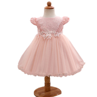 Baby Girls Dresses Newborn Clothes Lace Flower Princess Dress Pink Champagne Pearl Vestidos Pricesa Recien Nacido