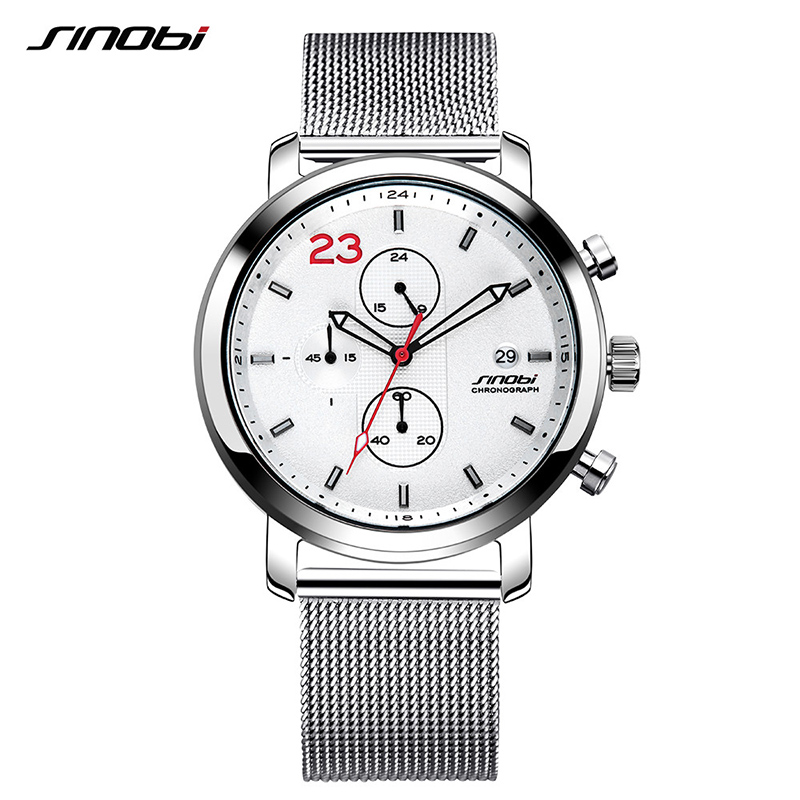 SINOBI Mens Watches Business Silver Stainless Steel Watch Luxury Brand Quartz Wristwatch Men Clock 2019 Relogio Masculino #9765