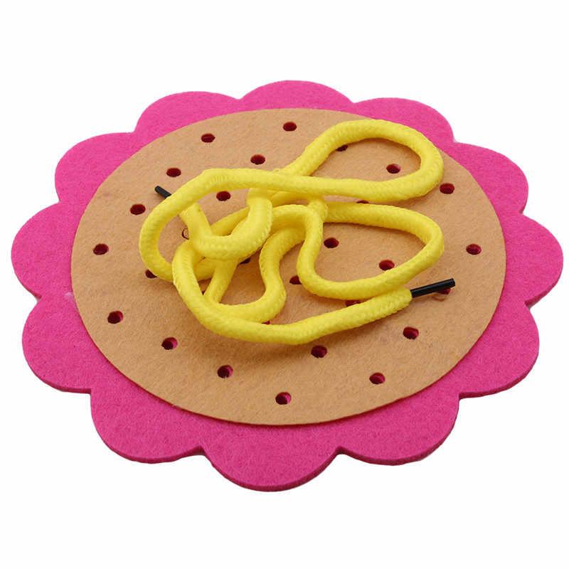 Non-ทอด้ายเจาะสวม laces ช่วยสอนเด็กขั้นพื้นฐานการฝึกอบรมทักษะของเล่น handmade ปริศนาเกม