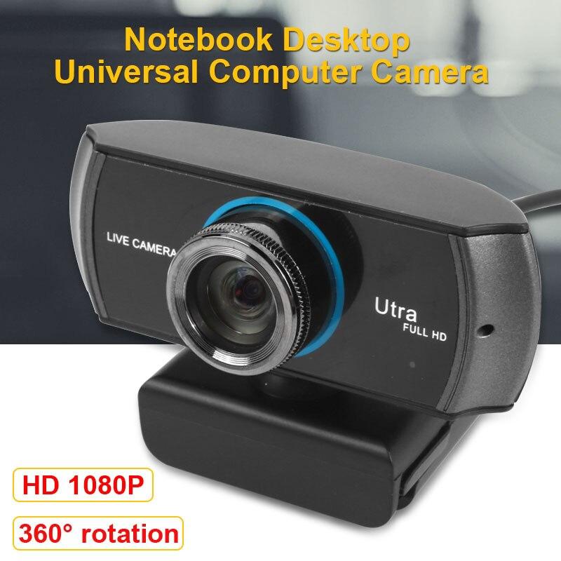 USB 1080 P caméra vidéo Microphone Webcam tourné 360 degrés