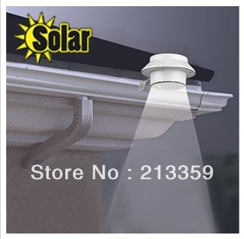 2013 Newest ! Free Shipping for Gutter Solar LED Powered Water Resistant with Switch fence light lamp+3 brightness LED Hot!
