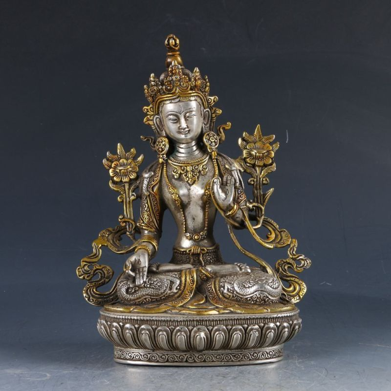 Chinese Silver copper Feng shui ornaments White Tara StatueChinese Silver copper Feng shui ornaments White Tara Statue