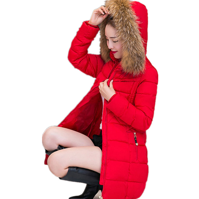 Winter thick warm coat long women cotton Korean Nagymaros collar hooded Parkas plus size solid color jacket manteau femme MZ1032